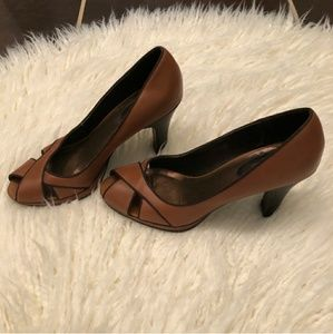 Connie Brown and Black Peep Toe Shoes Size 9
